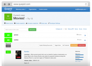 screenshot - image of search relevancy tool, Quepid